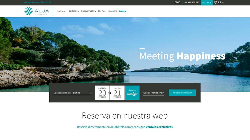 ALUA HOTELS & RESORTS POTENCIA LA VENTA DIRECTA A TRAVÉS DE SU NUEVA WEB